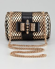 Christian Louboutin Gold Sweet Charity Satinlace Clutch Bag
