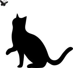 Free Cat Clip Art Image: clip art silhouette of a cat pawing at a butterfly