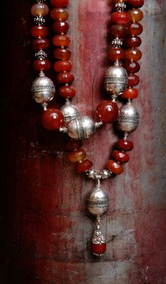 old Turkoman beads, carnelian and a drop from Nepal www.facebook.com/KIMBERLEYPRICEJEWELLERY