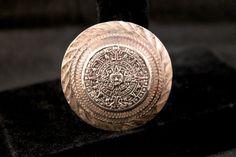 Aztec Silver Mayan Calendar Pendant Brooch - Mexico 925 (Vintage, Ethnic, Tribal, Unique) by JaguarIsle, $50.00