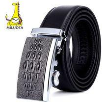 [Miluota] los hombres de moda cinturones de cuero genuino para los hombres de alta calidad de metal hebilla automática correa masculina jeans vaquero mu078(China (Mainland))