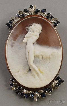 18kt White Gold, Diamond, and Sapphire-framed Shell-carved Cameo Pendant/Brooch