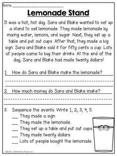 First Grade Reading Comprehension Worksheets Free Reading Comprehension Worksheets, 1st Grade Reading Worksheets, First Grade Reading Comprehension, Reading Fluency, Reading Passages, Kindergarten Reading, Reading Activities, Teaching Reading, Free Worksheets
