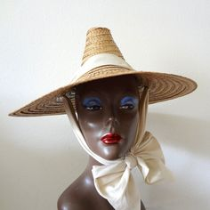 04cc88bf69869 1950s Wide Brim Straw Hat vintage asian style sun hat with bow
