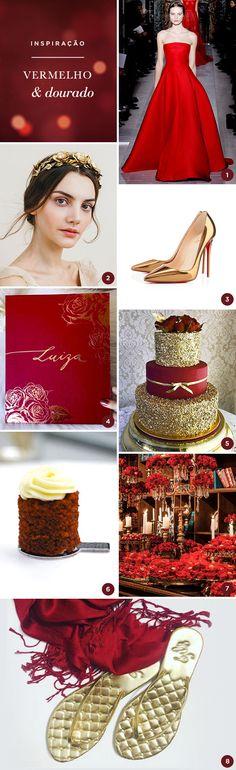 8 ideias para uma festa de 15 anos em vermelho e dourado - Constance Zahn | 15 anos