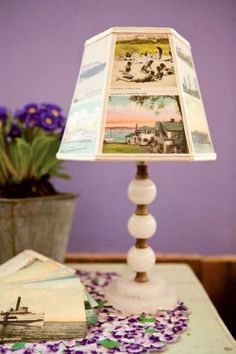 For 20 years this Vermont crafter has been transforming old lamps into new by creating one-of-a-kind postcard lampshades. With twelve steps, you'll soon be lighting up your own creativty . By Judy Lake, Yankee Magazine Aspen Wood, Old Lamps, American Decor, Do It Yourself Projects, Diy Photo, Lamp Shades, Fun Projects, Decorating Ideas, Craft Ideas