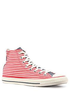Converse Men's The Chuck Taylor All Star Hi Flag Sneaker in Red, White, & Blue, Sneakers