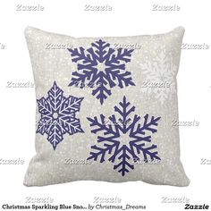 Christmas Sparkling Blue Snowflakes Throw Pillow