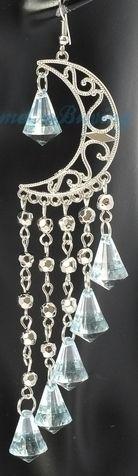 Silver Crescent Long Light Blue Crystal Beads Tassels Dangle Earrings Moon