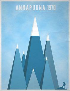 Annapurna, design, blue, triangle, shape, vintage, poster, graphic, inspiration