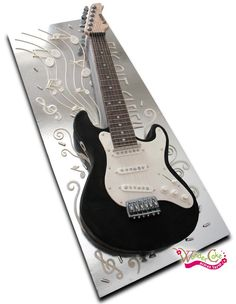 Electric black Guitar cake for rocknroll parties, band launches, music events or metal heads Mais 18th Birthday Cake For Guys, Guitar Birthday Cakes, Guitar Cake, Guitar Party, Happy Birthday, Piano Cakes, Music Cakes, Cake Decorating Techniques, Novelty Cakes