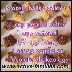 Shakeology protein balls, I also added about a cup of mini dark chocolate chips. Tastes like a no bake, peanut butter, chocolate chip cookie!