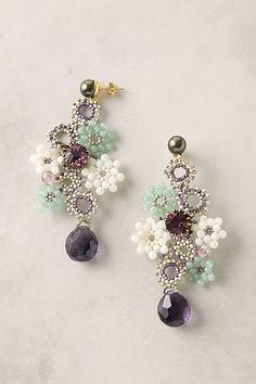 Full of Posies earrings, made of glass, crystal and seed beads by Tataborello, as seen at Anthropologie