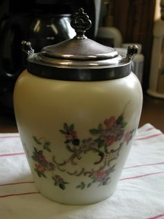 Antique Biscuit Jars | Antique Hand Painted Matte Biscuit Jar