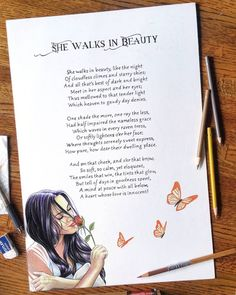 """""""She Walks in Beauty"""" by Lord Byron expressed in a three part harmony with the enchanting @katjamartiin serving as the muse.  I first read this poem some 8 years ago, and it was so lovely that it sparked an idea for a three picture illustration. Each working as an individual illustration but when combined would flow together as one. Finally had the time and model to help bring this series to life. I hope you enjoy it. Join me tomorrow for the first of the three illustrations…"""