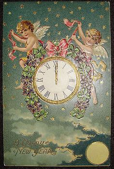 antique embossed postcard a happy new year angels