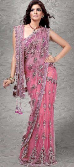 Pink sari| wedding saree| bridal sari