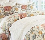 Cynthia Palampore Duvet Cover, Twin, Ivory With light blue quilt, gold pillows