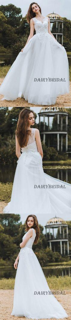 Lace Wedding Dress, V-Back Wedding Dress, Tulle Bridal Dress, Sleeveless Wedding Dress, Floor-Length Wedding Dress, Applique Wedding Dress, LB0981