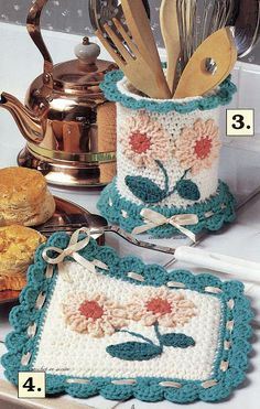 Cottage Kitchen Crochet Patterns Placemat Rug Napkin Holder & Ring and Crochet Kitchen, Crochet Home, Crochet Gifts, Crochet Baby, Knit Crochet, Crochet Placemats, Crochet Potholders, Crochet Jar Covers, Crochet Hot Pads