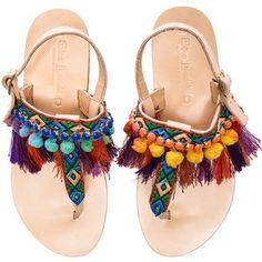 Elina Linardaki Leather Dizzy Parrot Sandals