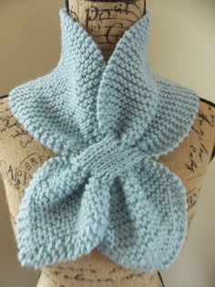 Pale Blue Keyhole Scarf, pull thru ascot scarf, pastel blue, knit bow tie, neck warmer, scarflet, cloud hand knit scarf, baby blue color