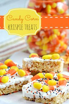 HELLO FALL! These chocolate covered Candy Corn Rice Krispies Treats are EASY to make and FUN to eat! Perfect dessert for a Halloween party!