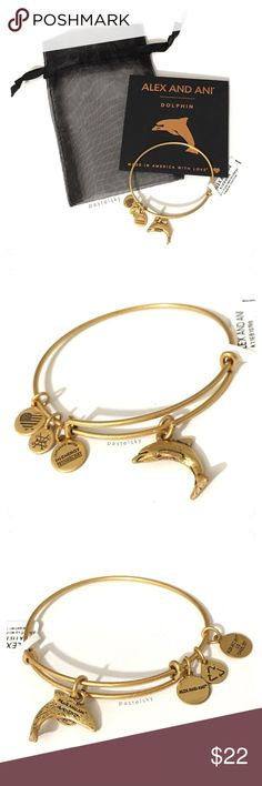 ALEX AND ANI dolphin bracelet NEW with tags, never worn and in perfect condition.  purchase includes ・rafaelian gold bracelet ・card ・mesh jewelry bag   due to lighting- color of item may vary slightly from photos.  please don't hesitate to ask questions    make an offer  i do not trade or take transactions off poshmark Alex and Ani Jewelry Bracelets