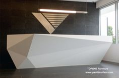 White corian solid surface office front reception desk. Warmly visit us for more detailed information.