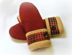 Recycled Wool Sweater WOMENS MITTENS Tan Plaid