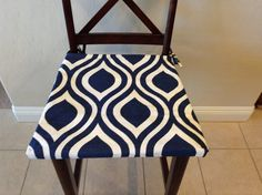 Indigo navy blue on white seat cushion cover by BrittaLeighDesigns. Update your home in an instant with new seat cushion covers and foam by Britta Leigh.  Most orders fulfilled within three business days!