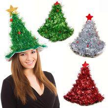 Tinsel Árbol De Navidad Sombrero 1 unid Venda Del Partido de Navidad de  Papá Noel Santa 6980f2b1d38