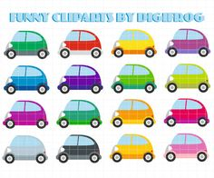 Funny small digital cars vehicles clipart printable by DigiFrog
