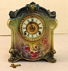 Antique Royal Bonn Co. Porcelain Ansonia Wind-up Mantle Clock -floral Design