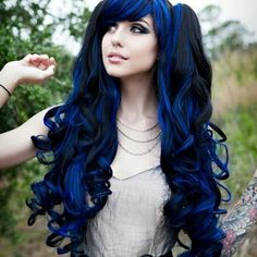Long deep dark blue hair with black mixed in. Dyed color hair. Colour.