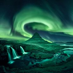 Kirkjufell Aurora - I was rather disapointed I didn't get to shoot the auroras above Kirkjufell, so I made this composite landscape picture. The landscape part is a daytime picture I made nighttime. I wanted the composition to follow an S-shape which leads the eye through the sky, down the mountain and up the river to the waterfalls.