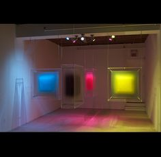 """DAVID SPRIGGS ~ """"4 Colour Separation"""" (2012) spatial image sculptures (installation); 36 x 36 x 12 inches each unit 