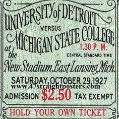 University of Detroit vs. Michigan State College Football Ticket, Oct. 29, 1927