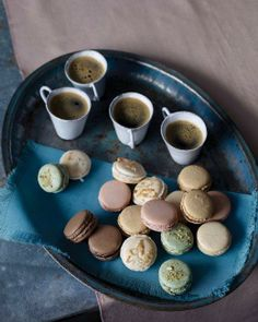 French macarons are classic French treats that give your dessert a dose of sophistication. Fill your macarons with a choice of chocolate, coconut, meringue, or raspberry. Serve our French macarons immediately or store as a save-some-for-later treat. French Macaroon Recipes, French Macaroons, Coffee Macaroons, French Recipes, Almond Macaroons, Honey Recipes, Pistacia Vera, Pistachio Macarons, Desserts Français