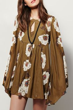 Love this casual dress. Floral Keyhole Neckline Long Sleeves Dress