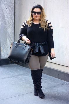 Cheap High Fashion Women S Clothing Code: 8061039191 Beige Leggings, Plus Size Leggings, Fashion Blogger Style, Curvy Girl Fashion, High Fashion, Over Boots, High Boots, Plus Zise, Viking Clothing