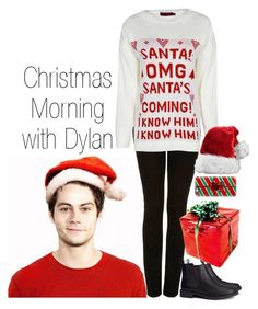 """Christmas Morning with Dylan"" by pretty-preferences ❤ liked on Polyvore featuring Topshop, H&M, Casetify, Christmas, preference and dylanobrien"