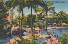 CORAL GABLES, FLORIDA - 53 Beautiful Venetian Pool, Vintage Linen Postcard, Used and Stamped, 1930s, Romer 43200 by AgnesOfBohemia, $5.99