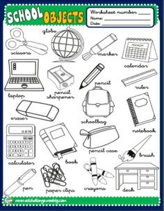SCHOOL OBJECTS - POSTER (B/W) http://eslchallenge.weebly.com/packs.html