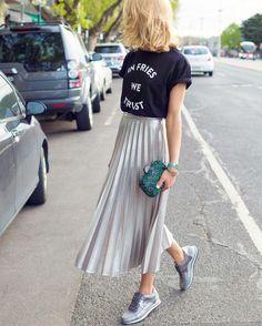 Metallic Pleated Skirt – Beige – Skirt - clothes n staff - Jupe Pleated Skirt Outfit Casual, Metallic Skirt Outfit, Metallic Pleated Skirt, Maxi Skirt Outfits, Pleated Midi Skirt, Long Pleated Skirts, Silver Skirt, Black Pleated Skirt Outfit, Long Skirt Outfits For Summer