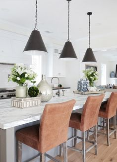 Black Pendants + incredible marble island SUCH A STUNNING KITCHEN WHICH HAS BEEN DECORATED TO PERFECTION!! -'JUST GORGEOUS!!