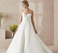 Modern Sweetheart A-Line Platinum Wedding Gown In Ivory Ivory
