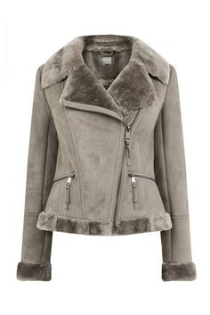 Oasis, FAUX SHEARLING JACKET Pale Grey