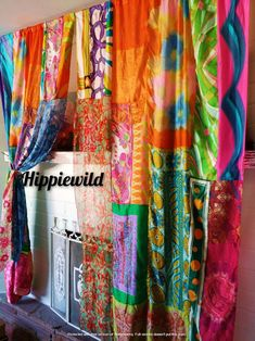 Boho Curtains by Hippiewild Indian Curtains, Patchwork Curtains, Bohemian Curtains, Colorful Curtains, Bohemian Decor, Boho Chic, Unique Curtains, Boho Style, Burlap Garland
