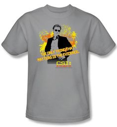 CSI: Miami Shirt Hand On Hip Silver T-Shirt CSI: Miami T-Shirts An awesome 100% preshrunk cotton T-shirt for any fan! Available in Small, Medium,